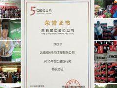 """綠A榮獲第五屆中國公益節""""2015年度公益踐行獎"""""""
