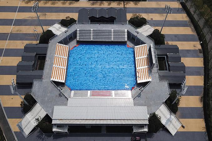 航拍軍運會青山江灘沙灘排球中心