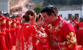 浪漫!高鐵工地上的百對新人集體婚禮