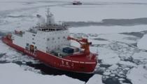 """第36次南極科考:""""雪龍2號""""船進入密集浮冰區"""