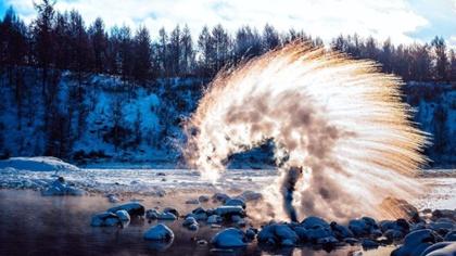 黑龍江:極寒環境裏 千人潑水沸騰冬日