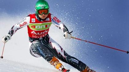 女子高山滑雪世界杯前三名獲得者精彩瞬間
