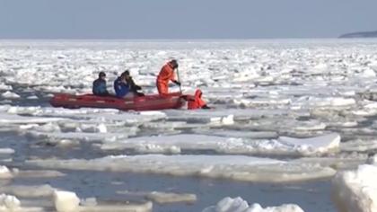 施救!冰上救援 俄三百漁民踏冰捕蟹與陸地分離