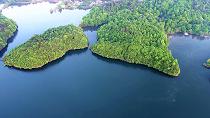 航拍江西浮梁:湖光山色 木葉蔥蔥