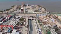 廣東汕頭海灣隧道東線貫通