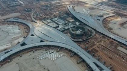 高空視角帶你看成都天府國際機場施工現場