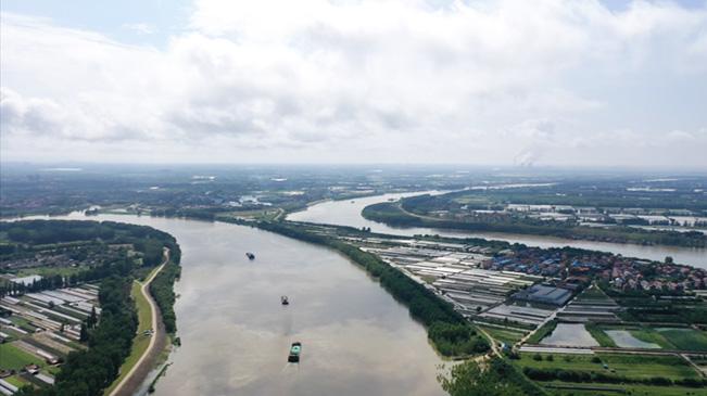 航拍漢江蔡甸段水位持續上漲