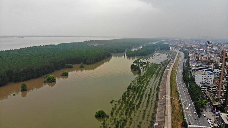航拍長江湖北黃岡段全線超警