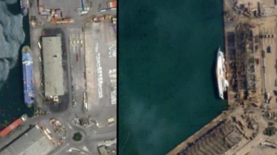 衛星圖像對比貝魯特港口區爆炸前後