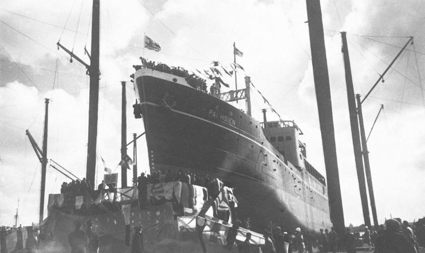 由招商局建造的輪船舉行下水典禮(1948年 新華社稿)