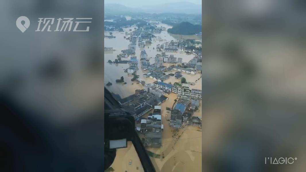 航拍!江西贛州遭遇嚴重內澇 多地道路房屋農田被淹