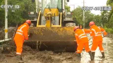 湖北宜昌:塌方省道恢復通行 市區積水基本消退