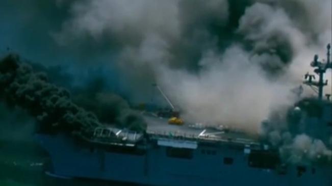 美國:美軍一兩棲攻擊艦在基地起火 21人傷