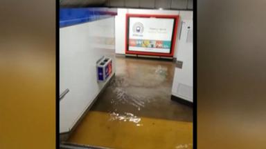 暴雨侵襲 西班牙馬德裏地鐵站被淹