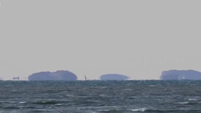 時隔十年 山東蓬萊海域再次出現海滋奇觀