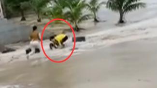 海南三亞:女童被大浪卷走 熱心男子英勇施救
