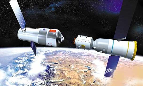 中国神舟飞船与 天宫一号太空对接效果图,图片尺寸:640*432,来自