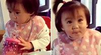 賈靜雯女兒喝奶狂搖頭 大眼萌小辮子超可愛