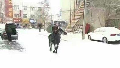 """""""敬業快遞哥"""" 快遞小哥雪天騎馬送快遞"""