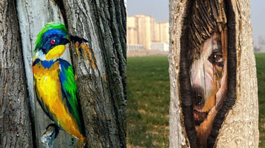 別樣風景:動物樹幹畫現身街頭 造型可愛添春意