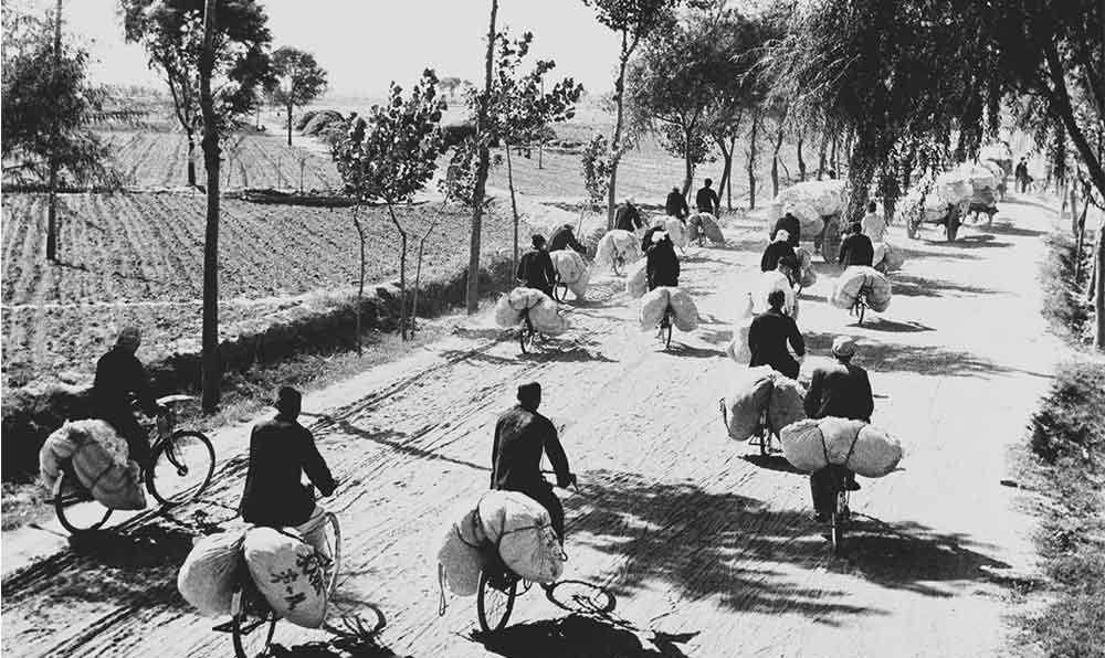 """""""短途運輸送棉花""""——河北省成安人民公社的社員們用自行車運棉。"""