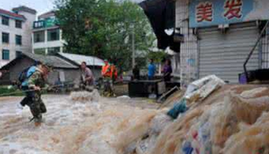 浙江蘭溪:多地暴雨成災水位漸退 救援官兵加緊排澇清淤