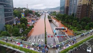 湖南長沙:航拍湘江水位下降 城區積水排出