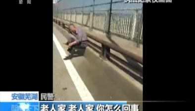 安徽蕪湖:走失老人誤入機動車道 交警救助