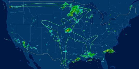 """波音787-8夢幻客機在美國上空飛出""""自畫像"""""""