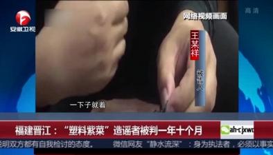 """福建晉江:""""塑料紫菜""""造謠者被判一年十個月"""