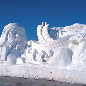 百米巨型雪雕為冬奧加油