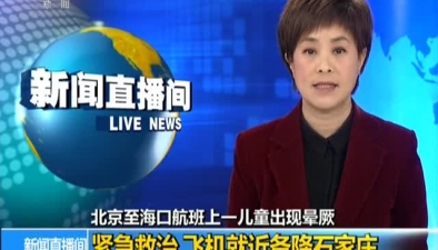 北京至海口航班上一兒童出現暈厥:緊急救治 飛機就近備降石家莊