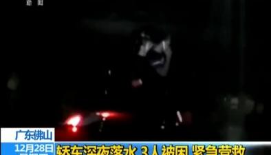 廣東佛山:轎車深夜落水3人被困 緊急營救