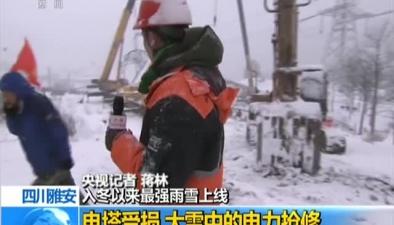 四川雅安:入冬以來最強雨雪上線 電塔受損 大雪中的電力搶修