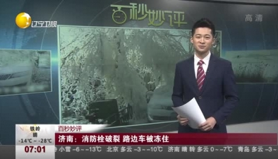 濟南:消防栓破裂 路邊車被凍住
