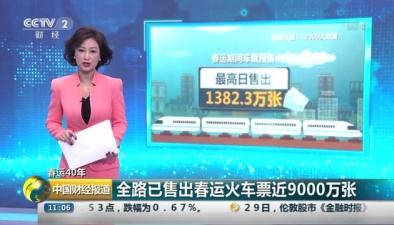 春運40年:全路已售出春運火車票近9000萬張