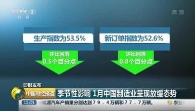 季節性影響 1月中國制造業呈現放緩態勢