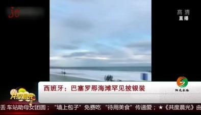 西班牙:巴塞羅那海灘罕見披銀裝