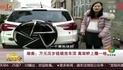 湖南:萬元壓歲錢錯放車頂 高架橋上撒一地