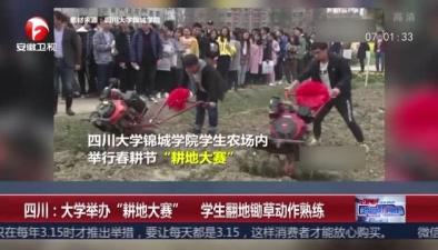 """四川:大學舉辦""""耕地大賽"""" 學生翻地鋤草動作熟練"""
