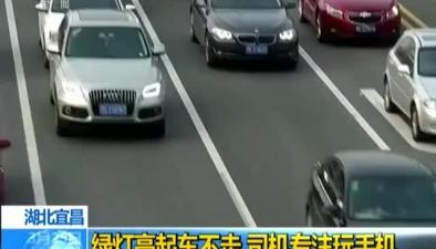 湖北宜昌:綠燈亮起車不走 司機專注玩手機