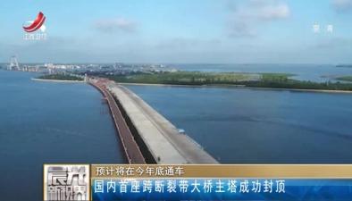 国内首座跨断裂带大桥主塔成功封顶 预计将在今年底通车