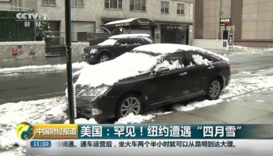 """美國:罕見!紐約遭遇""""四月雪"""""""
