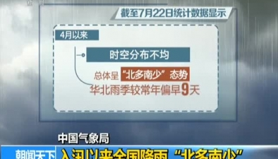 """中國氣象局:入汛以來全國降雨""""北多南少"""""""