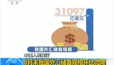 中國人民銀行 8月末我國外匯儲備規模環比微降