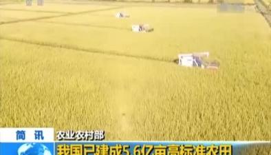 農業農村部:我國已建成5.6億畝高標準農田