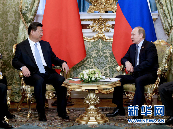 5月8日,國家主席習近平在莫斯科克裏姆林宮同俄羅斯總統普京舉行會談。 新華社記者 馬佔成 攝