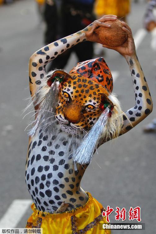 印度举行民间艺术节 身体彩绘老虎表演舞蹈(高