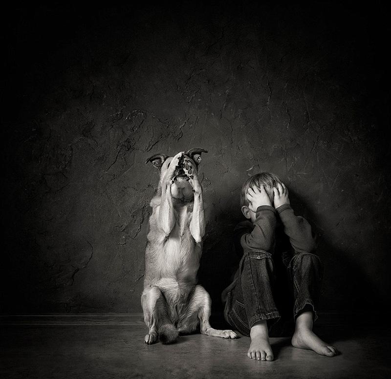 摄影作品记录儿童与动物温情互动时刻(高清组图)