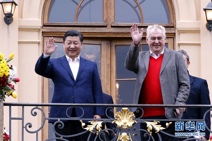 當地時間3月28日,國家主席習近平在布拉格拉尼莊園同捷克總統澤曼舉行會晤。新華社記者 鞠鵬 攝